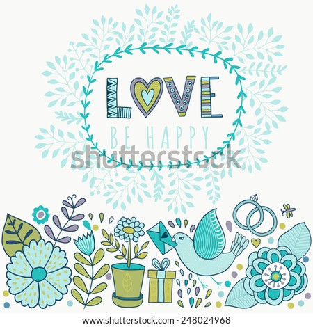 Vector Valentine's Day Greeting card with flowers and birds. Vector romantic  frame with floral elements. - stock vector