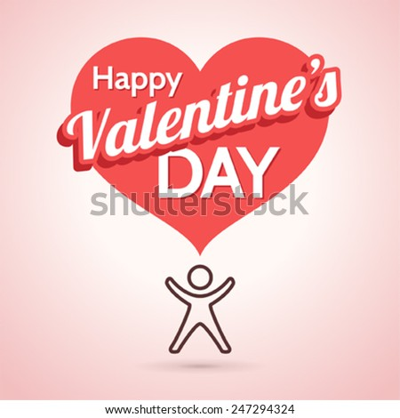 Vector Valentine's Day Greeting Card with Heart Shape - stock vector