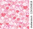 Vector Valentine's Day hearts seamless pattern background with hand drawn elements. - stock vector
