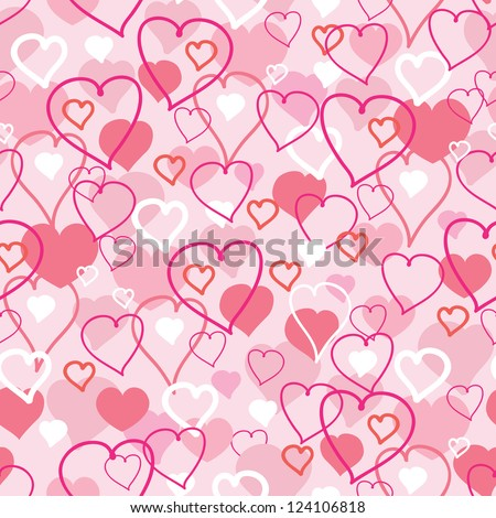 Vector Valentine's Day hearts seamless pattern background with hand drawn elements.