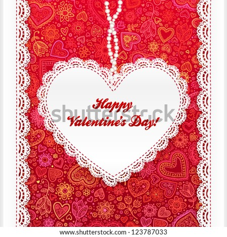 Vector Valentine's day lacy paper heart greeting card on doodle ornate background