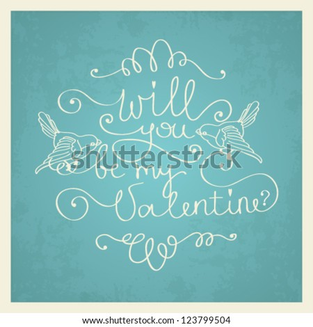 Vector Valentine's day love card template with hand drawn calligraphy element - stock vector