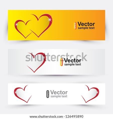 Vector valentines banners - stock vector