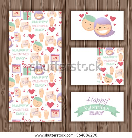 Vector Valentines Day greeting card. Stylish card in cartoon style. On a wooden background for your design - stock vector