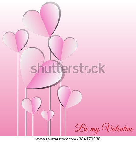 Vector - Valentines Day Heart Balloons on Pink Background - stock vector