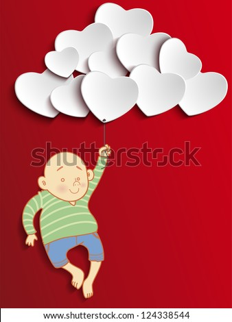 Vector - Valentines Day Heart Boy Holding Balloons - stock vector