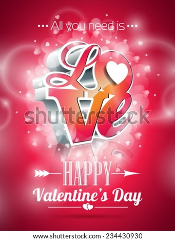 Vector Valentines Day illustration with 3d Love typography design on shiny background. EPS 10. - stock vector