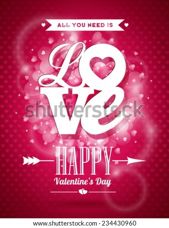 Vector Valentines Day illustration with Love typography design on shiny background. EPS 10. - stock vector
