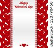 Vector valentrines day greeting card template with red glossy hearts background - stock vector