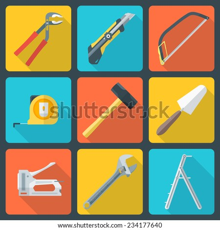 vector various color flat design house repair instruments equipment icons with shadow - stock vector