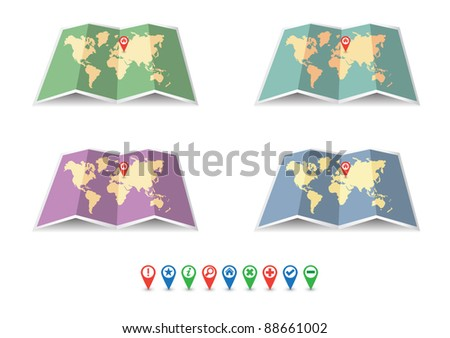 Vector various color map icons with navigation symbols - stock vector