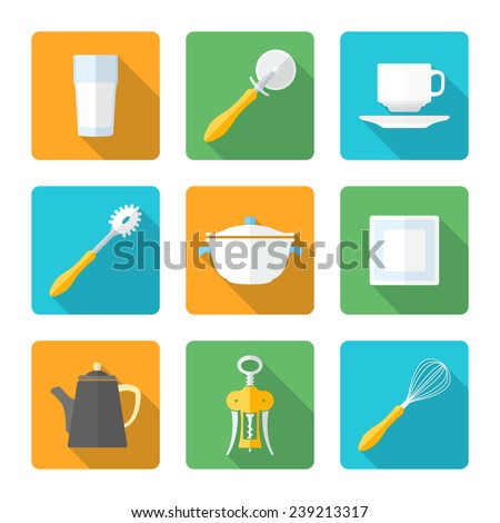 vector various flat design dinnerware tableware utensil icons with shadows