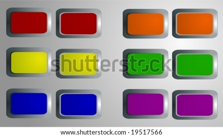 Vector: various glossy buttons with 3d effects, easy to edit.
