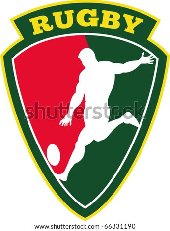 vector vector illustration of rugby player kicking ball set inside shield - stock vector