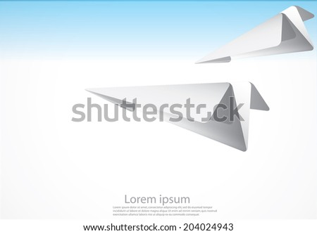 Vector - vector layout with paper plane on the cloudy sky