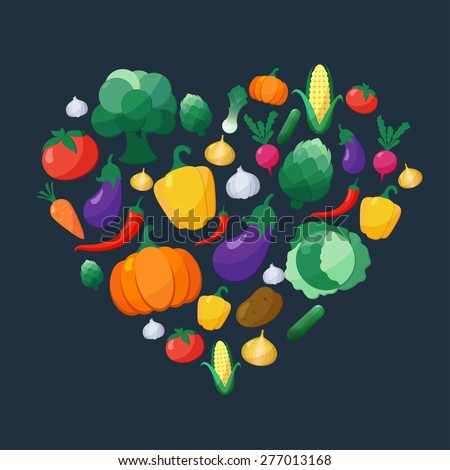Vector Vegetables Flat Style Icons Set in Heart Shape over Dark Background with Eggplant, Carrot, Paprika, Artichoke, Corn, Radish, Pumpkin,  Leek, Pepper, Onion, Broccoli,  Cabbage, Tomato, Garlic - stock vector