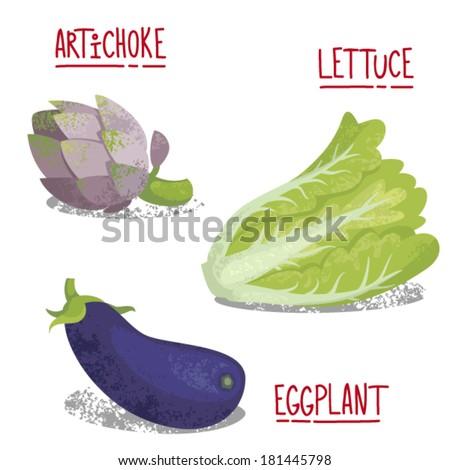 Vector vegetables illustration. Artichoke, lettuce, eggplant. - stock vector