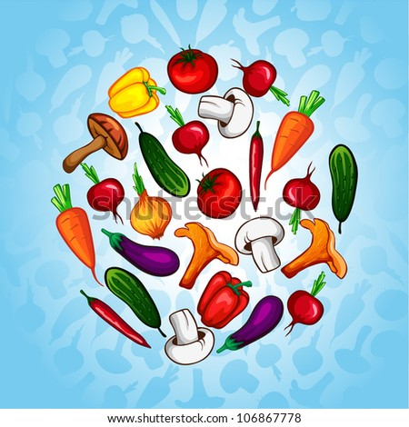 vector vegetables in a circle. organic food - stock vector
