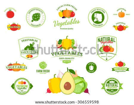 Vector vegetables logos, label templates, badges, emblems,  design elements and icons