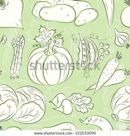 Vector Vegetables seamless pattern. Vegetables background. Beets, potatoes, asparagus, garlic, pumpkin, green peas, carrots, cabbage, radish, hot pepper chili. Vintage wallpaper.