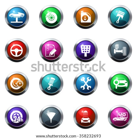 Vector vehicle service station round glossy web icon set