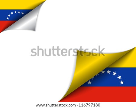 Vector - Venezuela Country Flag Turning Page - stock vector