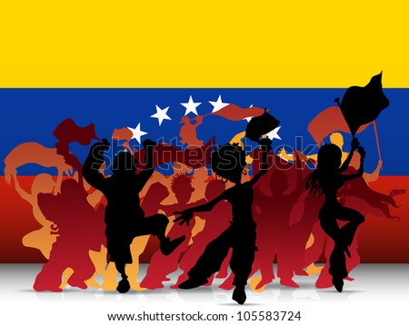 Vector - Venezuela Sport Fan Crowd with Flag