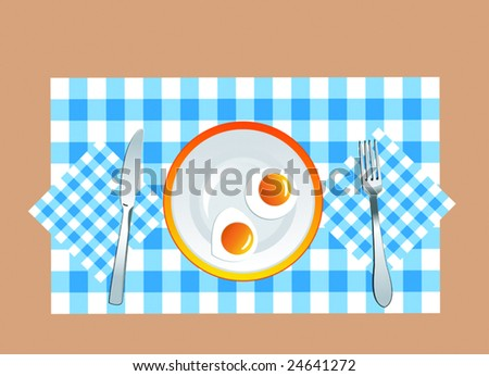 VECTOR version. appetizing fried eggs on the plate in vector format - stock vector