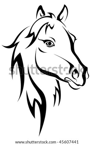 Vector version. Black horse silhouette isolated on white for design