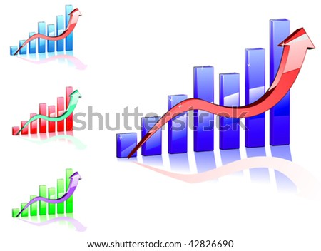 Vector version. Color graph for design and business concept. Jpeg version also available - stock vector