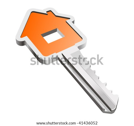 Vector version. House metallic key isolated on white as a concept of real estate - stock vector