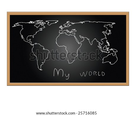 Vector version. Map of world on board - stock vector