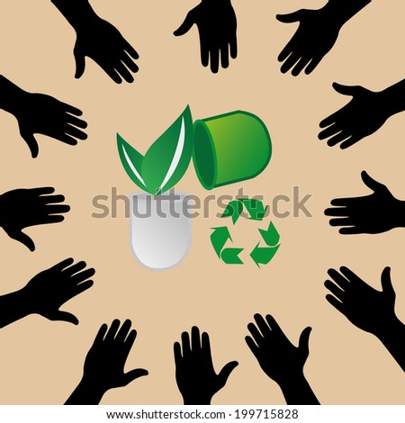 vector version of colorful hands with recycle concept - stock vector