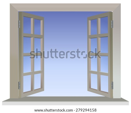Vector version of opened divided window with blue background