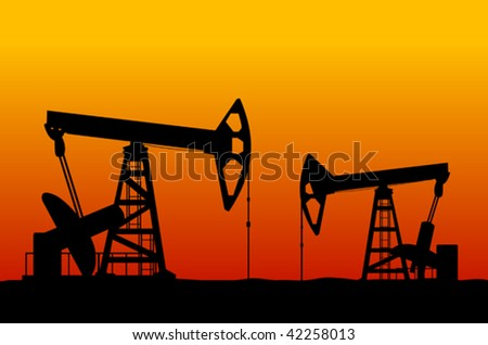 Vector version. Oil derricks on sunset as a concept of oil industry - stock vector