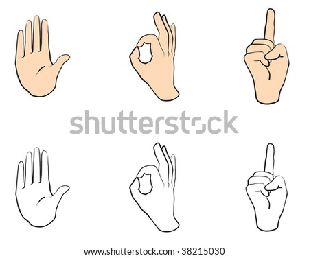 Vector version. Set of people hands with gestures for design