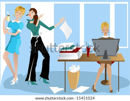 Vector version: Three Girls In the Office