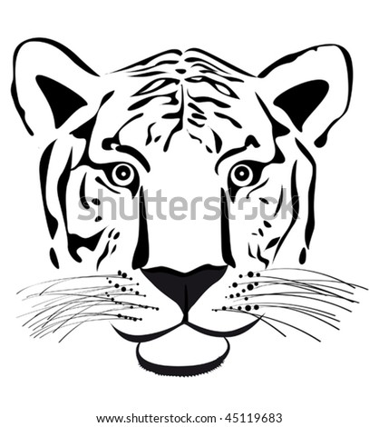 Vector version. Young tiger head silhouette isolated on white for design. Jpeg version is also available