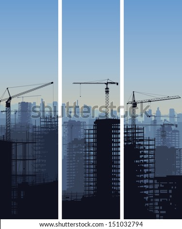 Vector vertical banner of construction site with cranes and skyscraper under construction.