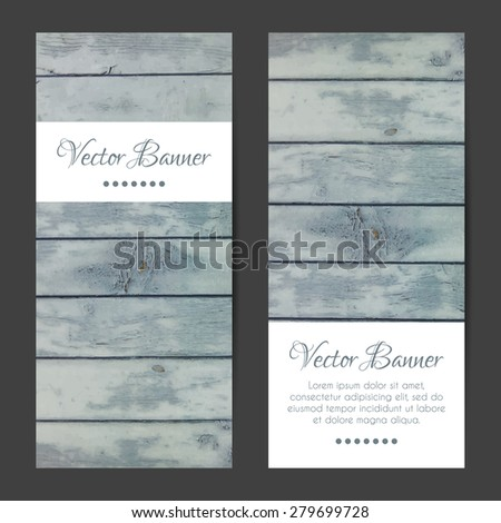 Vector vertical banners, cards set with wood planks background