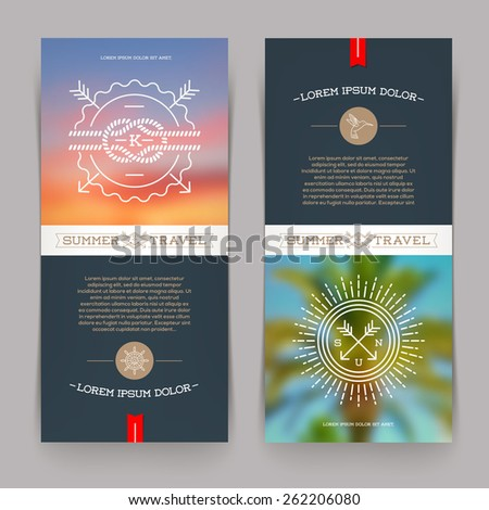 Vector vertical banners with line drawing Nautical and summer travel signs and emblems - stock vector