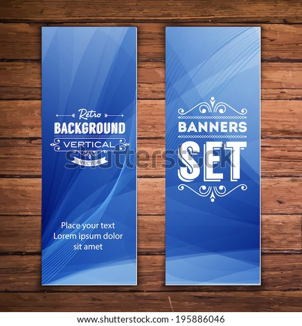 Vector Vertical Banners Smooth Abstract Blue Stock Vector ...