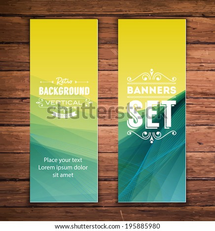 Vector vertical banners with smooth abstract lime and teal background - stock vector