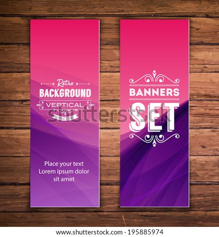 Vector vertical banners with smooth abstract purple background - stock vector