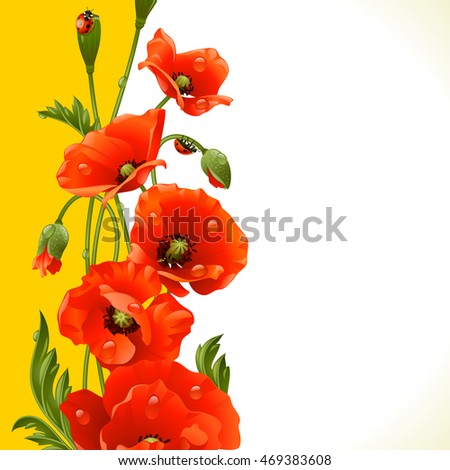 Vector vertical frame with red poppies and ladybugs