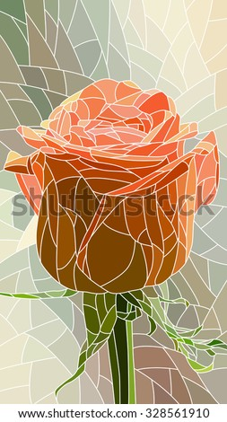 Vector vertical mosaic with large cells of red rose. - stock vector