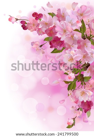 Vector Vertical Spring Background With Gentle Branch Of Beautiful Flowers