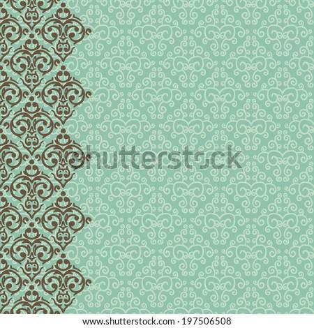 Vector vertically seamless baroque damask luxury border - stock vector