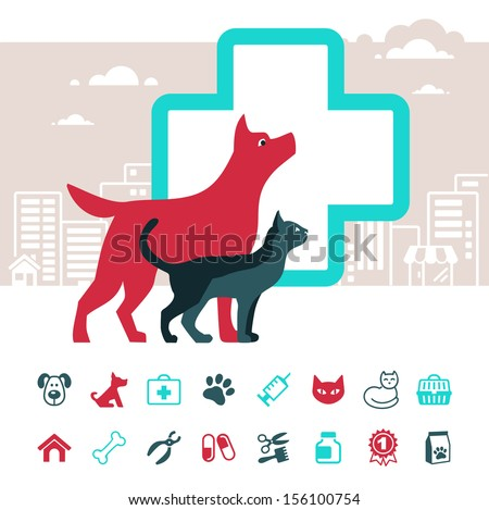 Vector veterinary emblem and pets icon set  - stock vector