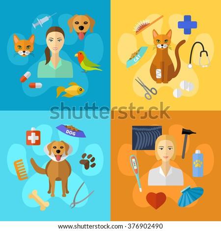 Vector veterinary icons set. Cat, dog, fish, parrot, doctors, pets, medical tools. - stock vector